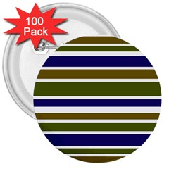 Olive Green Blue Stripes Pattern 3  Buttons (100 pack)  by BrightVibesDesign
