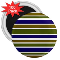 Olive Green Blue Stripes Pattern 3  Magnets (100 Pack) by BrightVibesDesign
