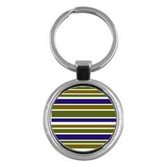 Olive Green Blue Stripes Pattern Key Chains (round)  by BrightVibesDesign