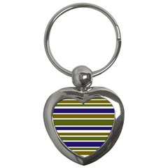 Olive Green Blue Stripes Pattern Key Chains (Heart)  by BrightVibesDesign