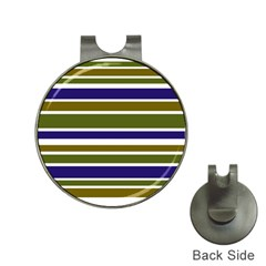 Olive Green Blue Stripes Pattern Hat Clips With Golf Markers by BrightVibesDesign