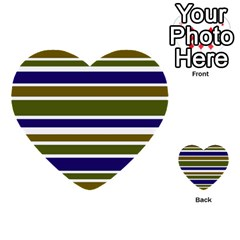 Olive Green Blue Stripes Pattern Multi-purpose Cards (Heart)  by BrightVibesDesign