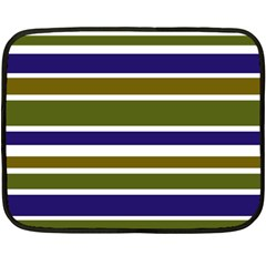 Olive Green Blue Stripes Pattern Double Sided Fleece Blanket (Mini)  by BrightVibesDesign