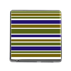 Olive Green Blue Stripes Pattern Memory Card Reader (Square) by BrightVibesDesign