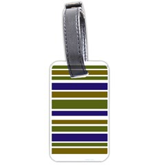 Olive Green Blue Stripes Pattern Luggage Tags (two Sides) by BrightVibesDesign