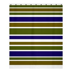 Olive Green Blue Stripes Pattern Shower Curtain 60  X 72  (medium)  by BrightVibesDesign