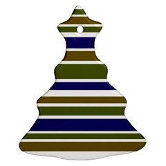 Olive Green Blue Stripes Pattern Christmas Tree Ornament (2 Sides) by BrightVibesDesign