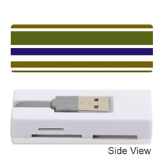 Olive Green Blue Stripes Pattern Memory Card Reader (Stick)  by BrightVibesDesign