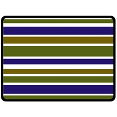 Olive Green Blue Stripes Pattern Double Sided Fleece Blanket (Large)  by BrightVibesDesign