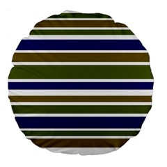Olive Green Blue Stripes Pattern Large 18  Premium Flano Round Cushions by BrightVibesDesign