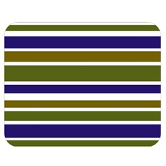 Olive Green Blue Stripes Pattern Double Sided Flano Blanket (medium)  by BrightVibesDesign