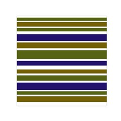 Olive Green Blue Stripes Pattern Small Satin Scarf (square)  by BrightVibesDesign