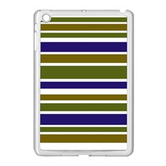 Olive Green Blue Stripes Pattern Apple Ipad Mini Case (white) by BrightVibesDesign