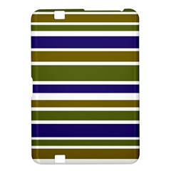 Olive Green Blue Stripes Pattern Kindle Fire HD 8.9  by BrightVibesDesign