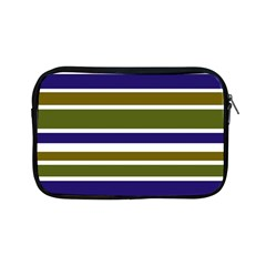 Olive Green Blue Stripes Pattern Apple iPad Mini Zipper Cases by BrightVibesDesign