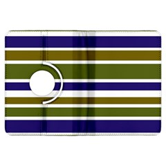Olive Green Blue Stripes Pattern Kindle Fire Hdx Flip 360 Case by BrightVibesDesign