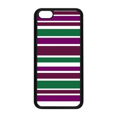 Purple Green Stripes Apple Iphone 5c Seamless Case (black)