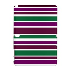 Purple Green Stripes Samsung Galaxy Note 10.1 (P600) Hardshell Case by BrightVibesDesign