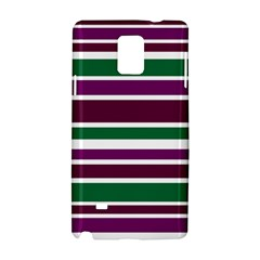 Purple Green Stripes Samsung Galaxy Note 4 Hardshell Case by BrightVibesDesign