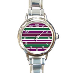 Purple Green Stripes Round Italian Charm Watch by BrightVibesDesign