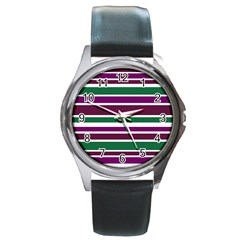 Purple Green Stripes Round Metal Watch by BrightVibesDesign