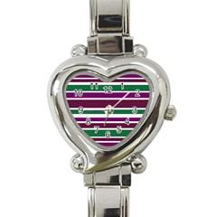 Purple Green Stripes Heart Italian Charm Watch by BrightVibesDesign