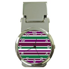 Purple Green Stripes Money Clip Watches by BrightVibesDesign
