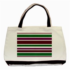 Purple Green Stripes Basic Tote Bag (Two Sides) by BrightVibesDesign
