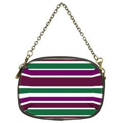 Purple Green Stripes Chain Purses (one Side)  by BrightVibesDesign
