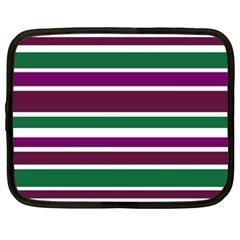 Purple Green Stripes Netbook Case (xxl)  by BrightVibesDesign