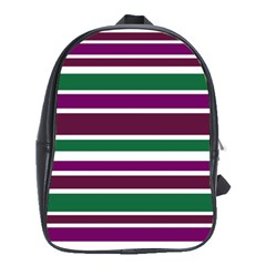 Purple Green Stripes School Bags(large)  by BrightVibesDesign