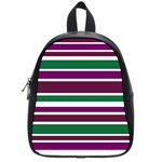 Purple Green Stripes School Bags (Small)  Front