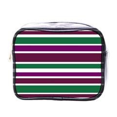 Purple Green Stripes Mini Toiletries Bags by BrightVibesDesign