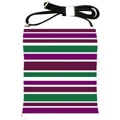 Purple Green Stripes Shoulder Sling Bags by BrightVibesDesign