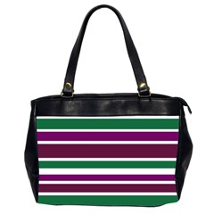 Purple Green Stripes Office Handbags (2 Sides)  by BrightVibesDesign