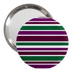 Purple Green Stripes 3  Handbag Mirrors by BrightVibesDesign
