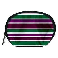 Purple Green Stripes Accessory Pouches (medium)  by BrightVibesDesign
