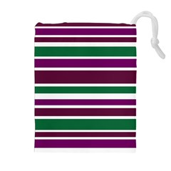 Purple Green Stripes Drawstring Pouches (extra Large) by BrightVibesDesign