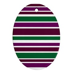 Purple Green Stripes Ornament (oval)  by BrightVibesDesign