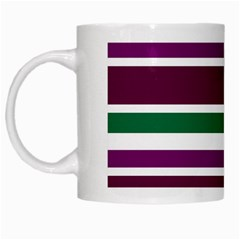 Purple Green Stripes White Mugs by BrightVibesDesign