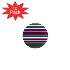 Purple Green Stripes 1  Mini Magnet (10 Pack)  by BrightVibesDesign