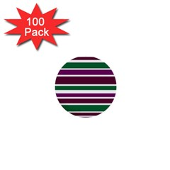 Purple Green Stripes 1  Mini Buttons (100 Pack)  by BrightVibesDesign