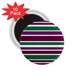 Purple Green Stripes 2 25  Magnets (10 Pack)  by BrightVibesDesign