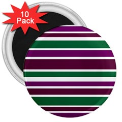 Purple Green Stripes 3  Magnets (10 Pack)  by BrightVibesDesign