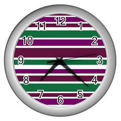 Purple Green Stripes Wall Clocks (Silver)  by BrightVibesDesign