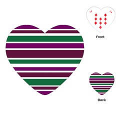 Purple Green Stripes Playing Cards (Heart)  by BrightVibesDesign