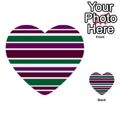 Purple Green Stripes Multi Purpose Cards (heart)  by BrightVibesDesign