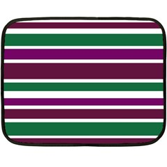 Purple Green Stripes Fleece Blanket (mini) by BrightVibesDesign