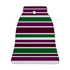Purple Green Stripes Ornament (Bell)  by BrightVibesDesign