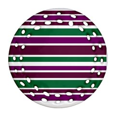 Purple Green Stripes Round Filigree Ornament (2side) by BrightVibesDesign